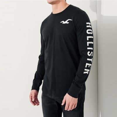 HCO Hollister 海鷗 經典背面印刷標誌設計文字長袖T恤-黑色