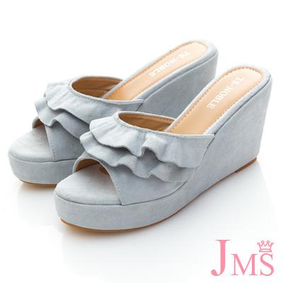 JMS-典雅美人雙層波浪美型楔型涼拖-藍色