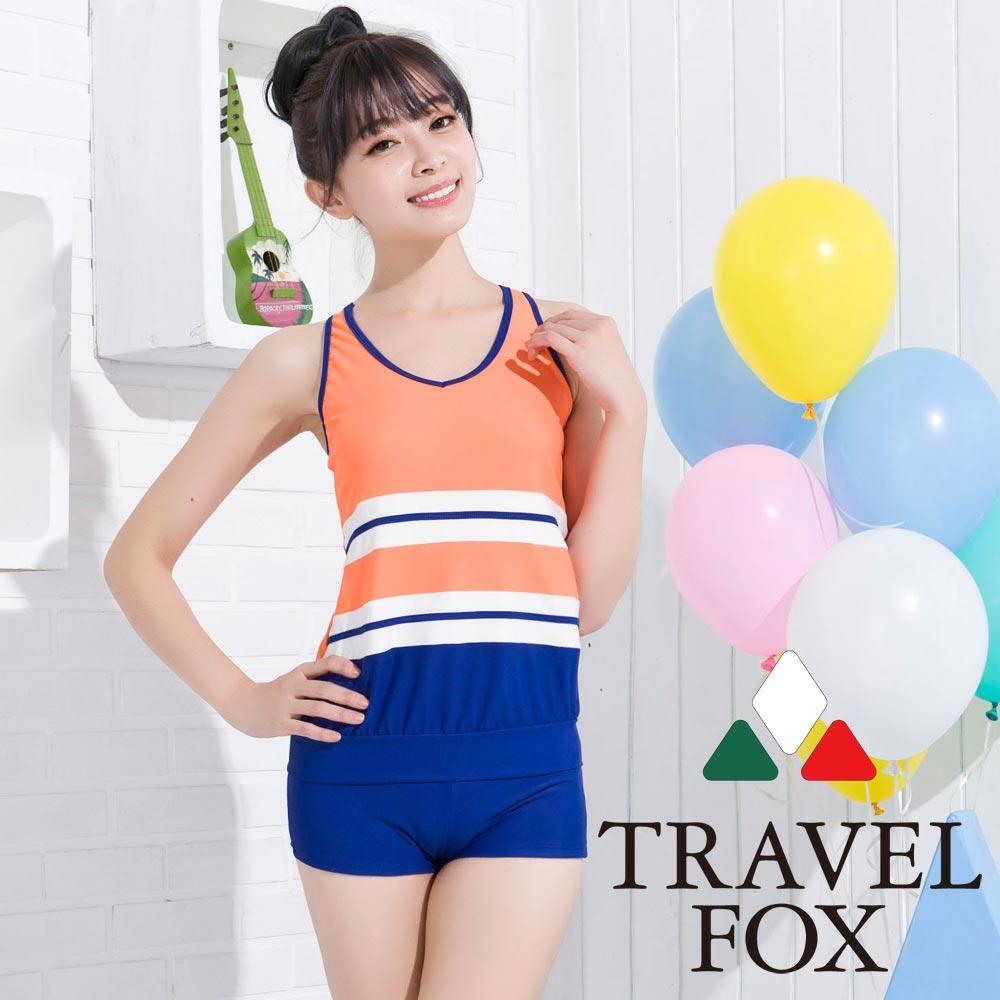 夏之戀TRAVEL FOX 俏麗休閒長版兩件式泳衣