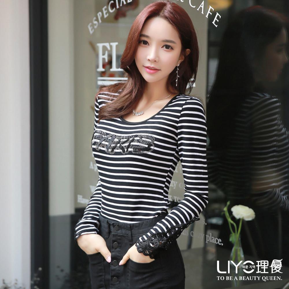 LIYO理優蕾絲拼接條紋上衣(黑)