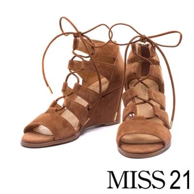 楔型鞋 MISS 21 都會嬉皮繫帶羅馬楔型鞋-棕