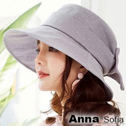 AnnaSofia 水玉點點俏結 遮陽防曬漁夫帽盆帽(雅灰系)