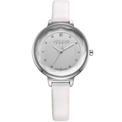 JULIUS聚利時 濃情時刻水鑽刻度皮錶帶腕錶-白/32mm