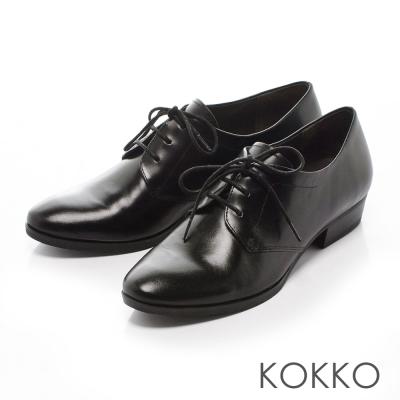 KOKKO-英倫尖頭擦色真皮牛津鞋-黑