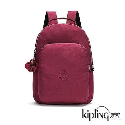 Kipling 後背包 莓紫素面-大