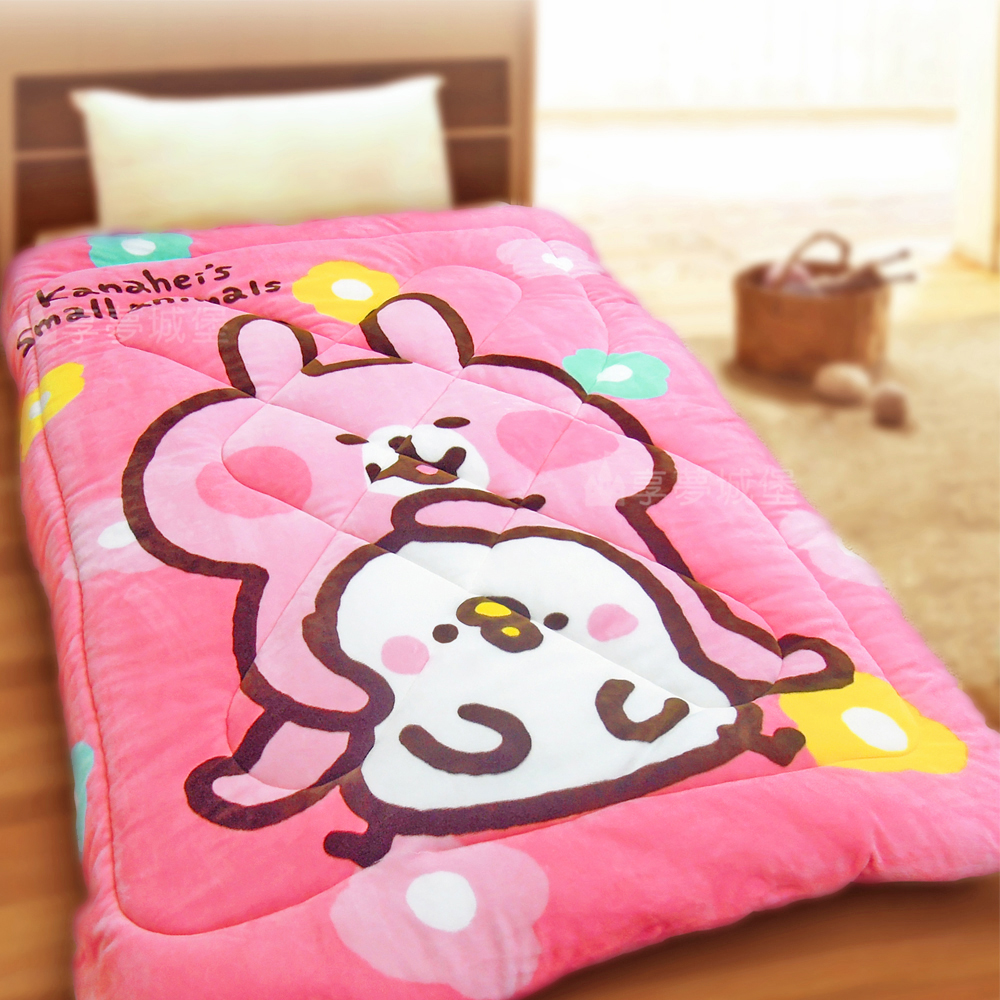 享夢城堡 法蘭絨暖暖毯被-卡娜赫拉的小動物Kanahei 心花開-粉