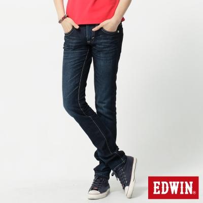 EDWIN 窄直筒MISS BT後袋剪接牛仔褲-女-酵洗藍