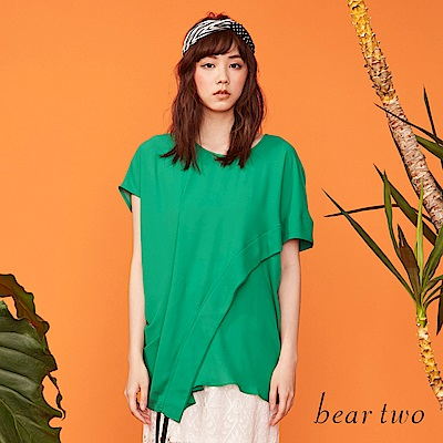 beartwo 垂墜感不對襯長版造型上衣(二色)