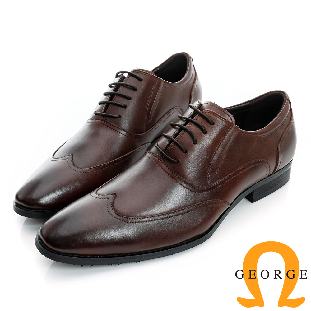GEORGE-經典素面側V切口綁帶真皮紳士鞋-深咖啡
