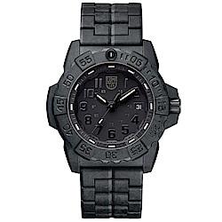 LUMINOX NAVY SEAL 3500海豹2代碳纖維鏈帶腕錶-消光黑x黑/45MM