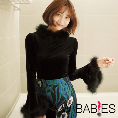 正韓 鴕鳥毛領喇叭長袖上衣 (黑色)-W BABIES