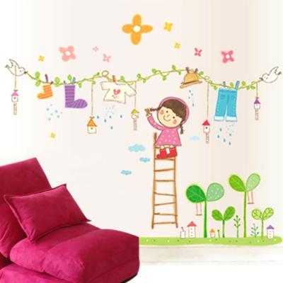 B-049創意生活系列-晾衣女孩(衣襪篇) 大尺寸高級創意壁貼 / 牆貼