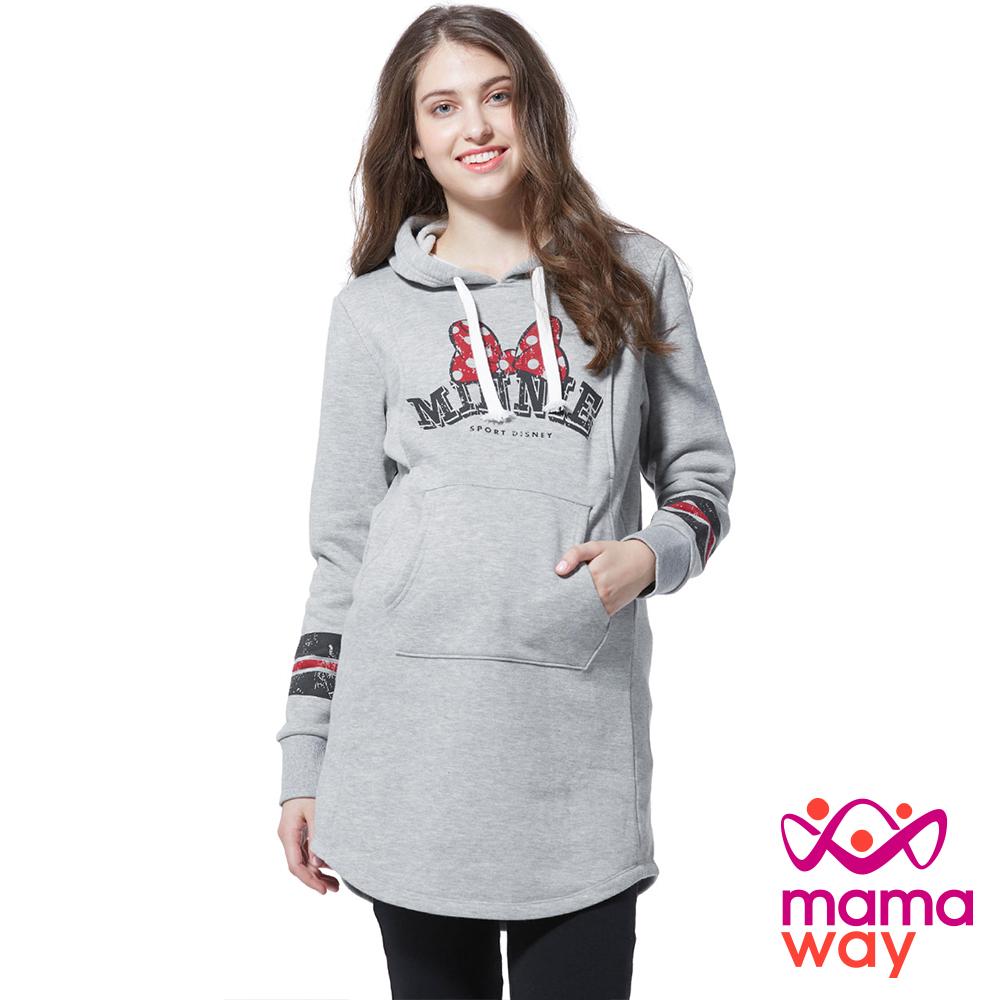 孕婦裝 哺乳衣 迪士尼運動風刷毛長版孕哺帽T Mamaway
