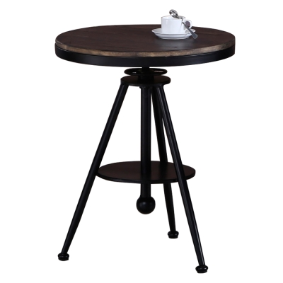 AT HOME-美式1.8尺胡桃圓形升降休閒桌