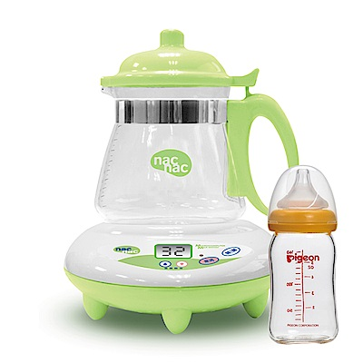 Nac Nac微電腦調乳器+貝親 寬口母乳實感玻璃奶瓶160ml(橘)