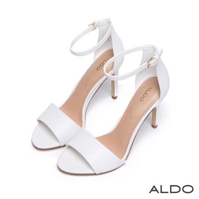 ALDO 原色真皮金屬釦帶繫踝高跟涼鞋~氣質白色
