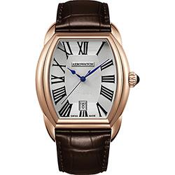 AEROWATCH Streamline 經典酒桶造型腕錶-銀x玫瑰金框/35mm
