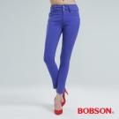 BOBSON 高腰頭強彈力小直筒褲(藍紫)