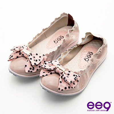 ee9心滿益足-點點蝴蝶結柔軟漆皮束口娃娃鞋-沁甜裸