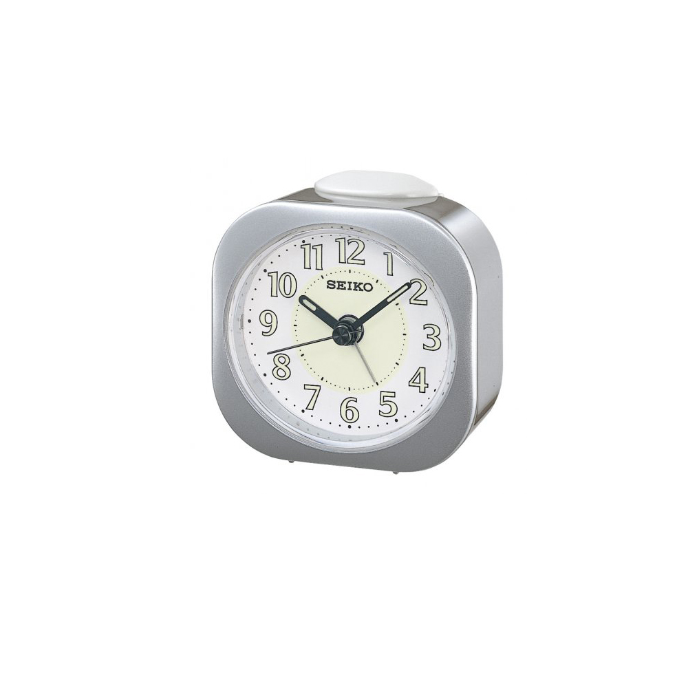 SEIKO 精工 嗶嗶聲 靜音 鬧鐘(QHE121S)-銀/7.3X7.2cm