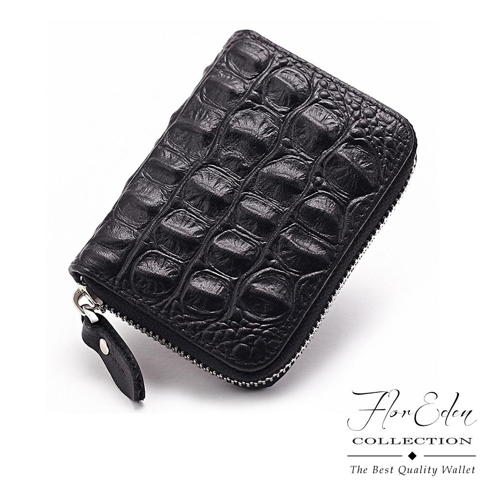 DF Flor Eden皮夾 - 多卡收納真皮款拉鍊式明片卡夾-鱷魚黑