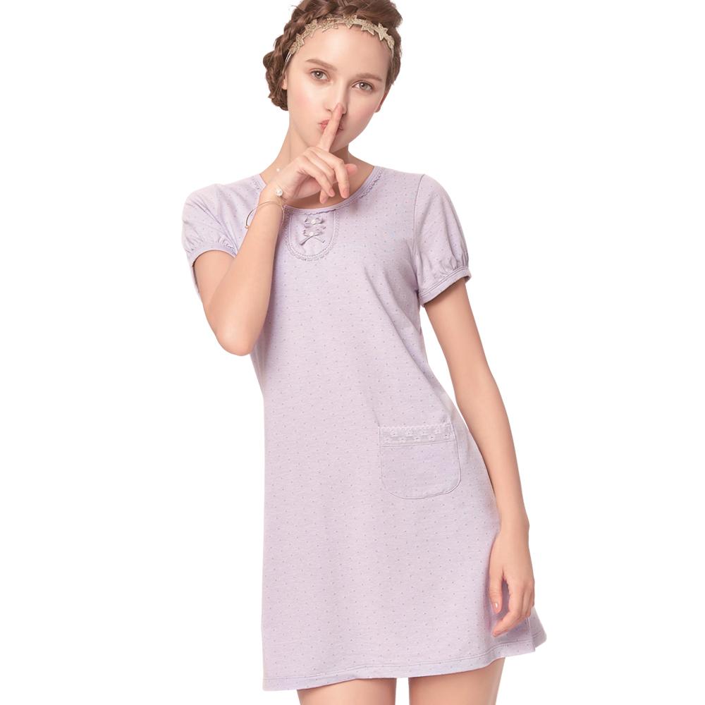 思薇爾 幾分甜輕甜風系列M-L素面連身式居家洋裝(濛灰色)