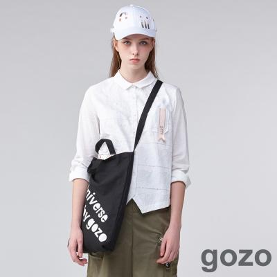 gozo個人主義塗鴉刺繡襯衫(二色)-動態show