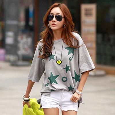 正韓 星星英文印染寬鬆長版T恤 (共四色)-N.C21