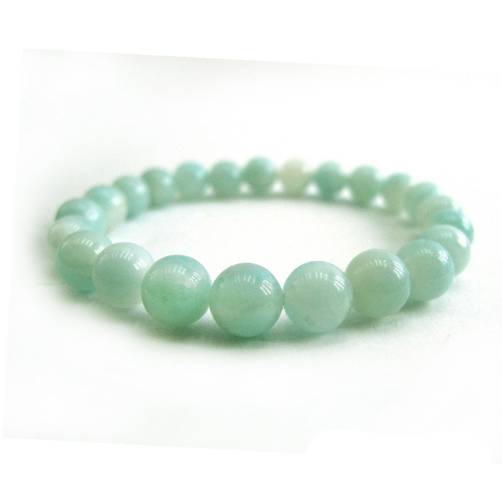 Hera頂級濃郁湛藍綠天河石手珠(8mm)