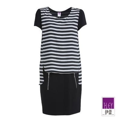 ILEY伊蕾-黑白條紋拉鍊設計洋裝