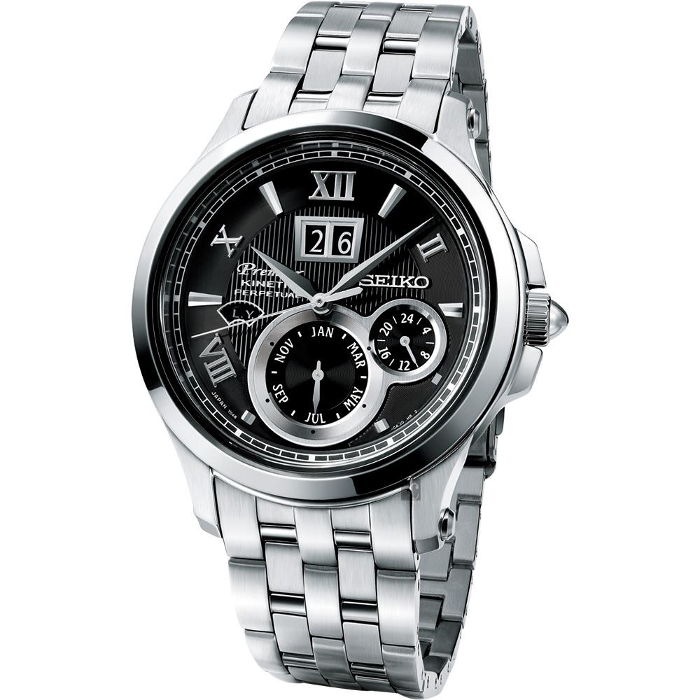 SEIKO PREMIER Kinetic 萬年曆腕錶(SNP053J1)-黑/40mm