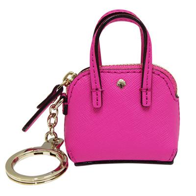 Kate spade 防刮牛皮包包造型鑰匙圈/掛飾-紫紅色