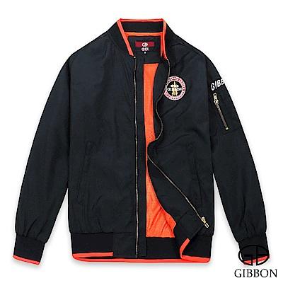 GIBBON 美式電繡棒球飛行外套‧黑色M-XXL