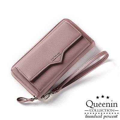 DF Queenin皮夾 - 淡雅甜美風仿皮款長夾手拿包-共3色