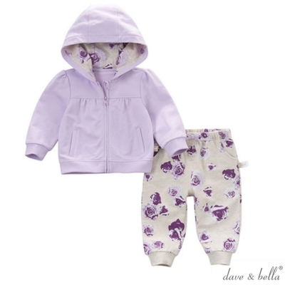 Dave Bella 薰衣草紫玫瑰連帽長袖外套長褲套裝2件組