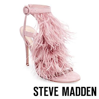 STEVE MADDEN-FEFE 羽毛綴飾圓釦細帶高跟涼鞋-粉色