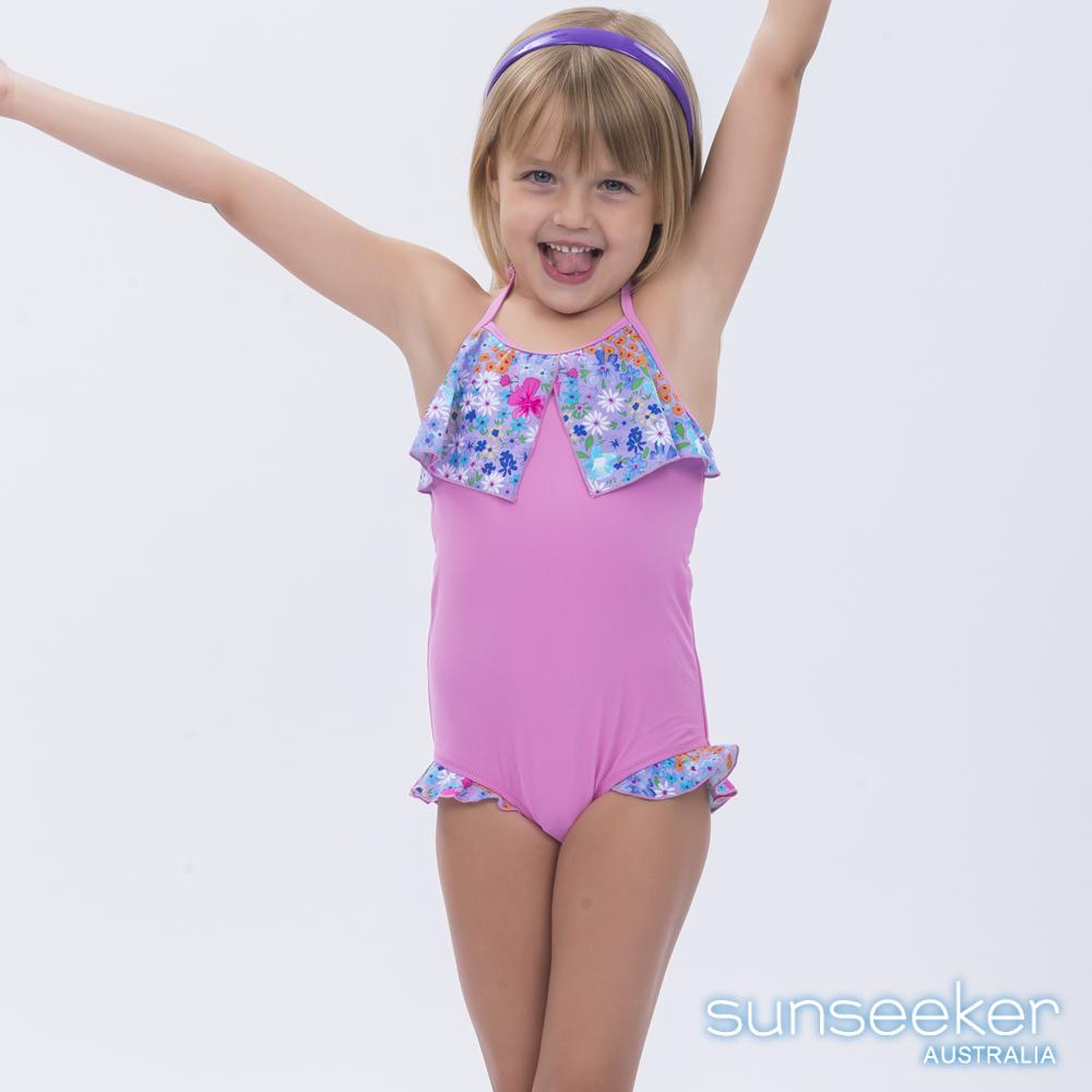 澳洲Sunseeker泳裝抗UV防曬連身泳衣-小女童粉紅