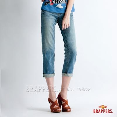 BRAPPERS 女款  Boy Friend Jeans系列-女用彈性七分反摺褲-淺藍