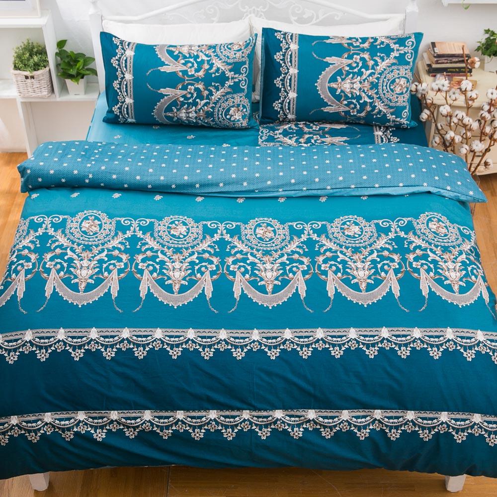 kokomos扣扣馬 鎮瀾宮大甲媽授權精梳棉205織紗雙人床包被套四件組 浪漫法國-藍