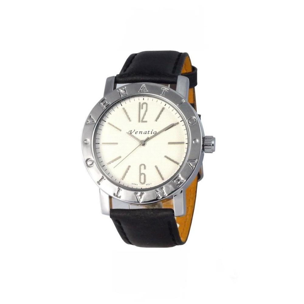 Venatio 雅痞風尚簡約中性腕錶-白面x/咖啡錶帶/42mm
