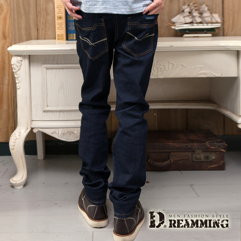 Dreamming 簡約雙線原色伸縮小直筒牛仔褲-深藍