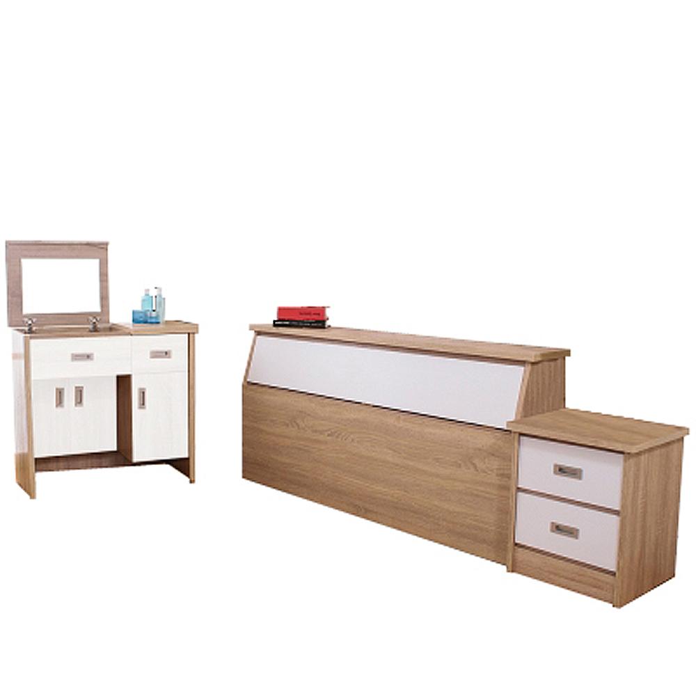 AT HOME-威尼斯梧桐白雙人臥室三件組(床頭箱+床頭櫃+掀式鏡台)