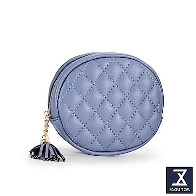 74盎司 菱格紋流蘇橢圓零錢包[LN-716]紫藍