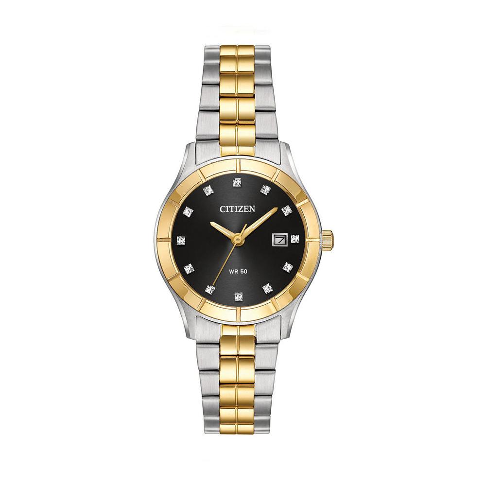 CITIZEN星辰 華麗金色元素典藏女仕腕錶(EU6044-51E)-黑/28mm