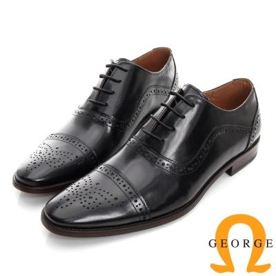 GEORGE 喬治-沖孔繫帶真皮底手工紳士鞋-黑色
