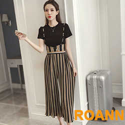 素面短袖上衣+撞色條紋吊帶褲兩件套 (共二色)-ROANN