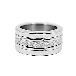 BERING丹麥精品 閃耀璀璨水晶 銀色四環組合戒指