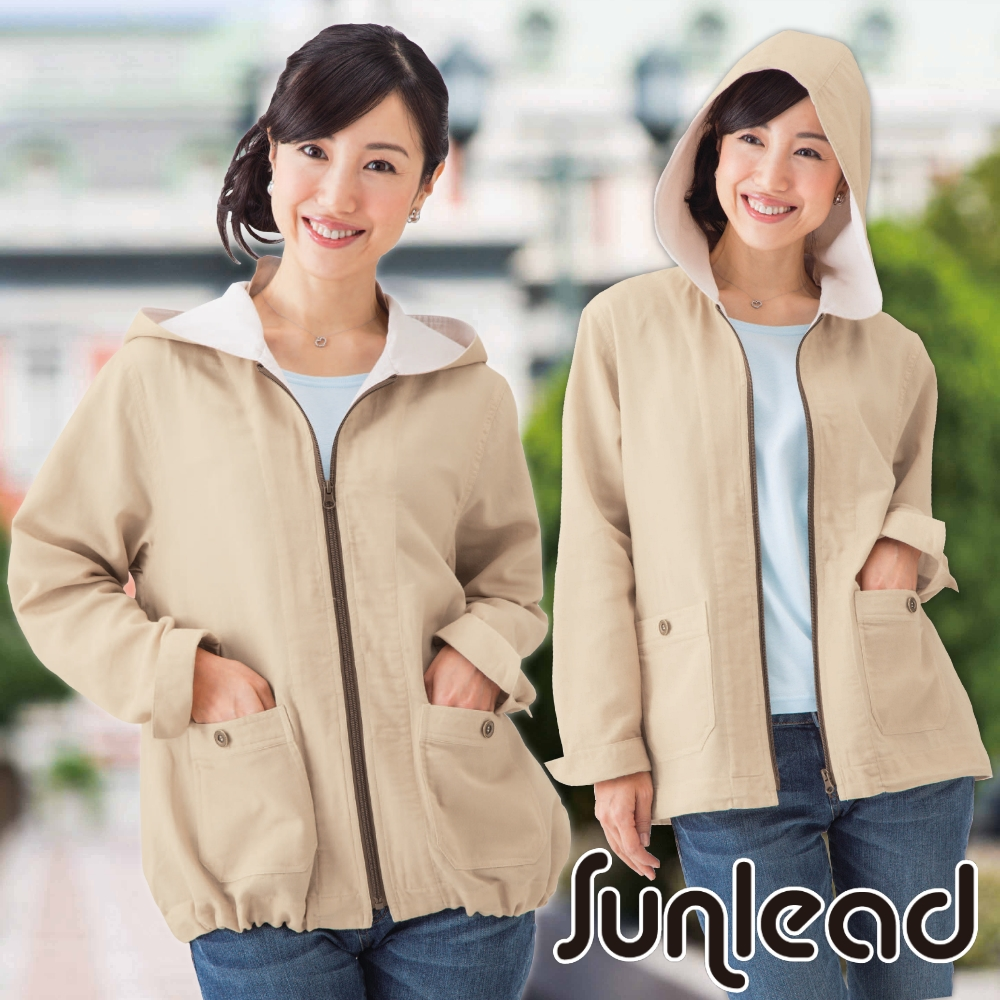 Sunlead日本二重紗織防曬透氣寬版連帽外套淺褐色