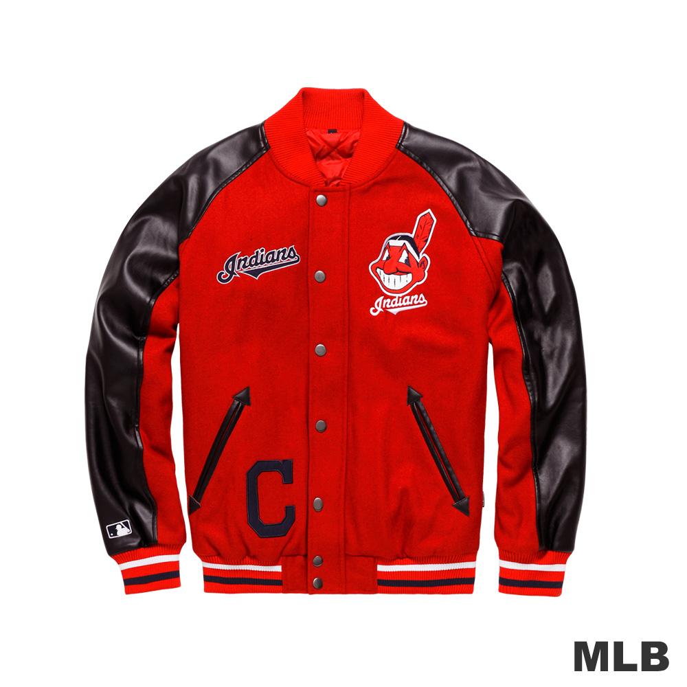 MLB-克里夫蘭印地安人隊LOGO毛料仿皮袖撞色棒球外套-紅色男