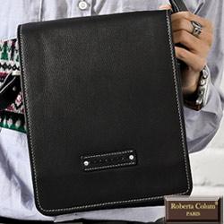 Roberta Colum - 時尚質感鉚釘軟牛皮實用長方形大容量斜背包-共2色